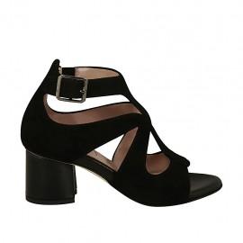 5b0a61ab63f Zapato abierto para mujer en gamuza y piel negra con hebilla tacon 5 -  Tallas disponibles