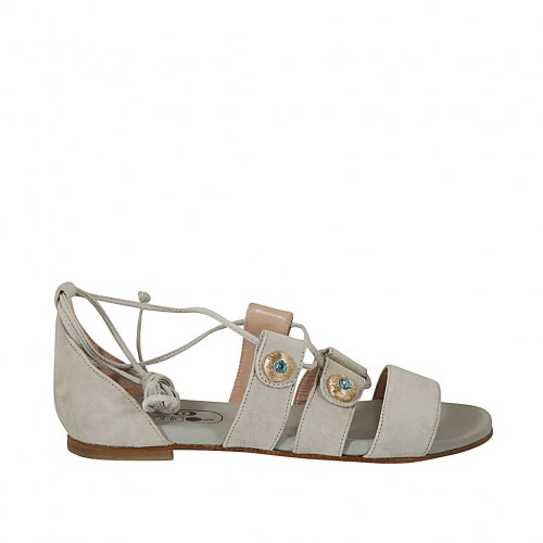 Woman's open shoe with buttons with rhinestones and laces in grey suede heel 1 - Available sizes:  32, 33, 34