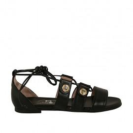 Scarpa aperta da donna con bottoni con strass e lacci in pelle nera tacco 1 - Misure disponibili: 33, 34, 44, 45, 46