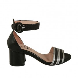 Woman's open strap shoe in black, silver and white leather heel 5 - Available sizes:  32, 43, 44, 45