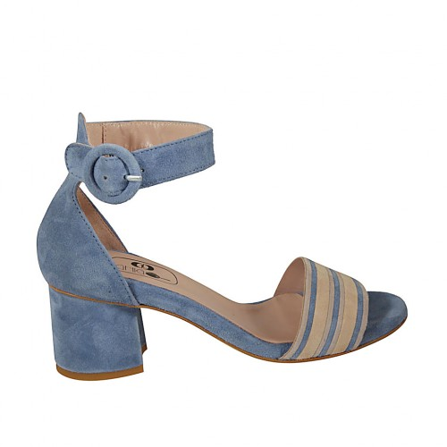 Woman's open strap shoe in light blue and beige suede heel 5 - Available sizes:  44
