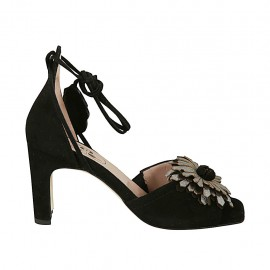 Woman's open shoe with laces and flower in black suede and silver laminated leather heel 7 - Available sizes:  33, 34, 44, 45