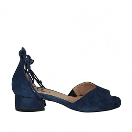 Woman's open shoe with laces in blue suede heel 3 - Available sizes:  32