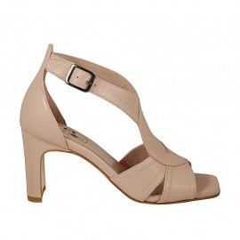 Woman's open shoe with crossed strap in nude leather heel 7 - Available sizes:  43, 44