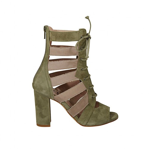 Woman's open shoe with laces and zipper in khaki green suede and beige fabric heel 8 - Available sizes:  42