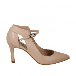 Woman's open strap pump in nude leather heel 7 - Available sizes:  33, 42, 43, 44