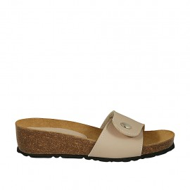 Woman's mules in nude leather with button and velcro wedge heel 4 - Available sizes:  32, 33, 34, 42, 43, 44, 45, 46