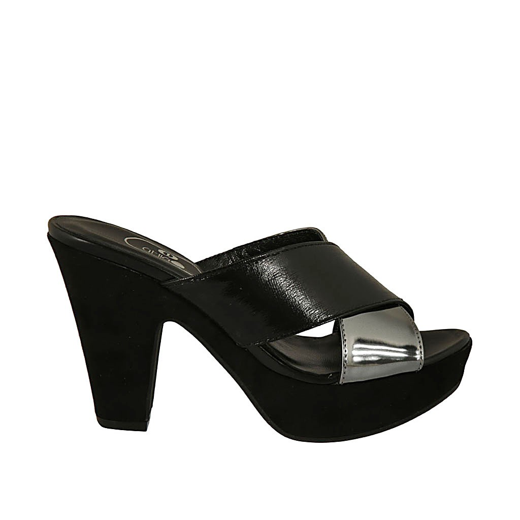 2417bd115846 Woman s open mule in black suede and silver laminated and black patent  leather with platform and. Loading zoom