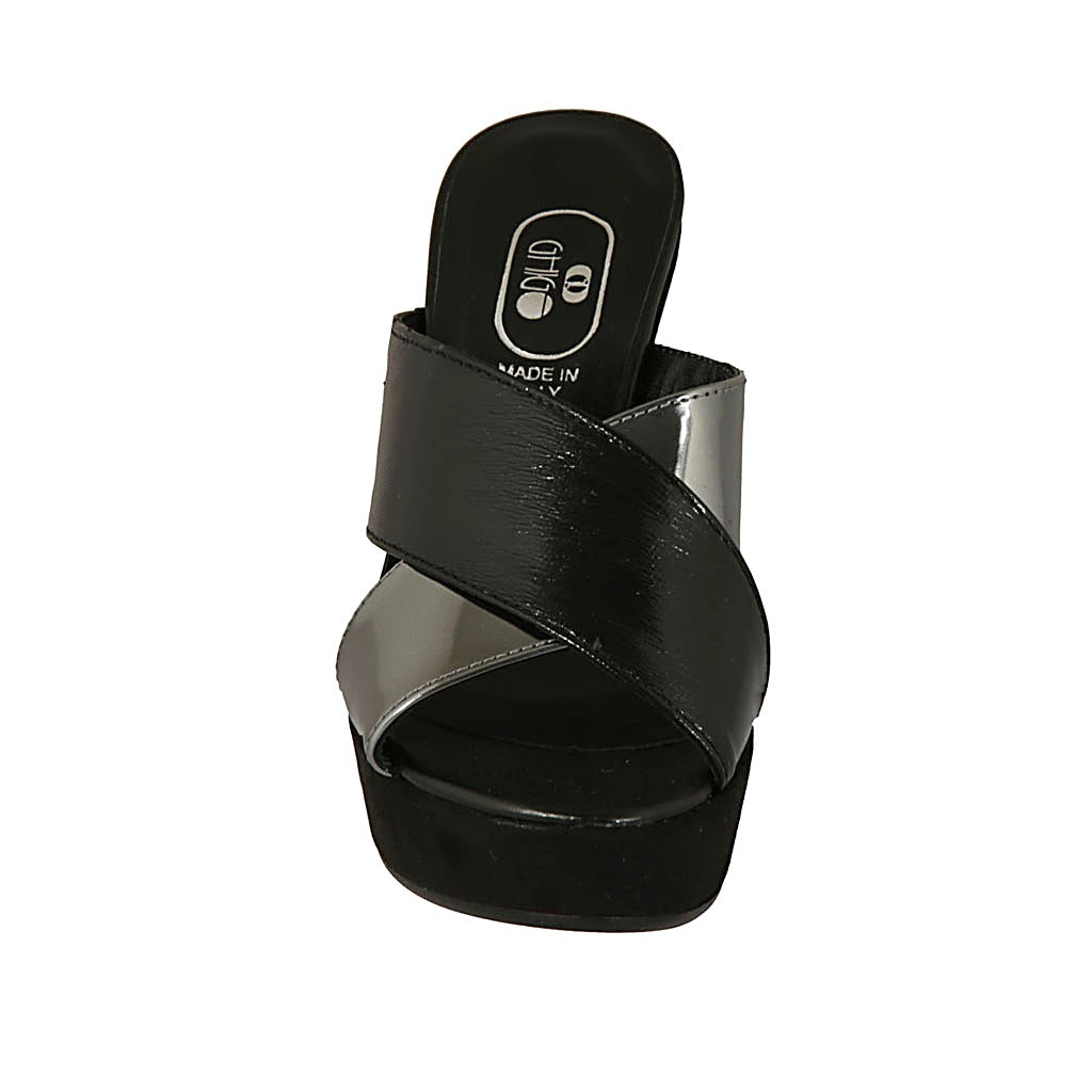 04b9c349fa05 ... Woman s open mule in black suede and silver laminated and black patent  leather with platform and ...