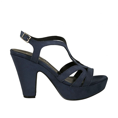 Woman's platform sandal in blue suede with strap heel 10 - Available sizes:  42, 43