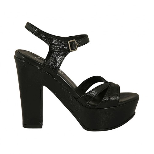 Woman's sandal with anklestrap in black patent leather with platform and heel 11 - Available sizes:  43