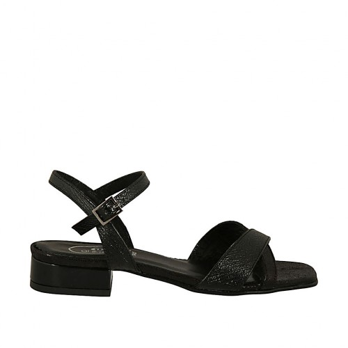 Woman's sandal with strap in black printed patent leather with heel 2 - Available sizes:  32, 33, 42