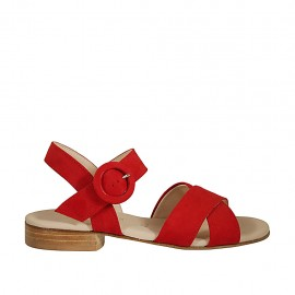 Woman's sandal with anklestrap in red suede with heel 2 - Available sizes:  33, 34, 42, 44, 46