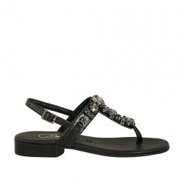 Woman's thong sandal with rhinestones in black leather heel 2 - Available sizes:  32, 33, 34, 42, 43, 44, 45, 46