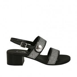 Sandale pour femmes avec courroie, bandes et bouton en tissu lamé argent et cuir noir talon 4 - Pointures disponibles:  33, 42, 43, 44, 45, 46