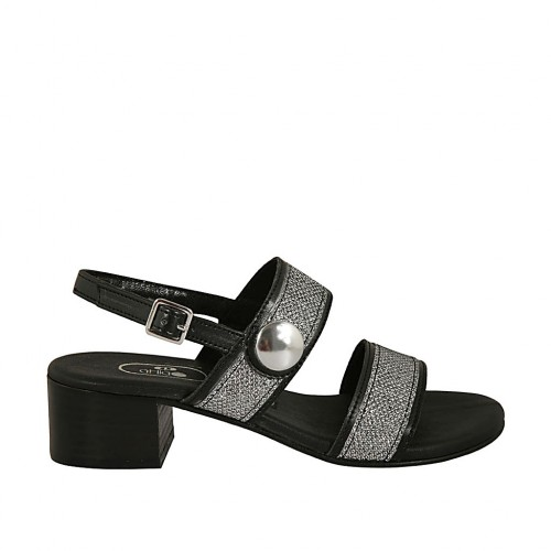 Woman's sandal with strap, bands and button in silver laminated fabric and black leather with heel 4 - Available sizes:  43, 45