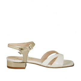 Woman's sandal with anklestrap in white leather and gold patent leather with heel 2 - Available sizes:  32, 43, 44, 45
