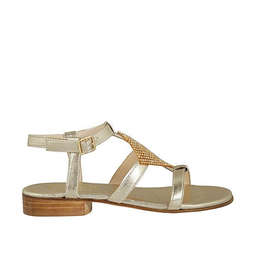 Woman's sandal with strap and rhinestones in platinum laminated leather heel 2 - Available sizes:  32