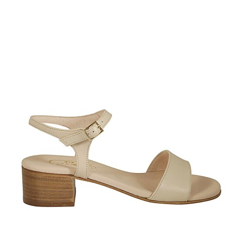 Woman's sandal with anklestrap in beige nude leather heel 4 - Available sizes:  43