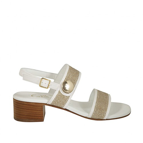 Woman's sandal with strap, bands and button in platinum laminated fabric and white leather with heel 4 - Available sizes:  44