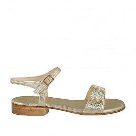 Woman's sandal in laminated platinum leather with strap and rhinestones heel 2 - Available sizes:  33, 34, 43, 44