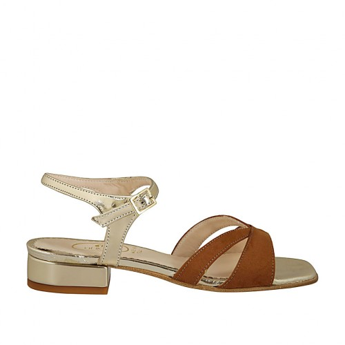Woman's sandal with anklestrap in tan suede and gold patent leather with heel 2 - Available sizes:  43, 44