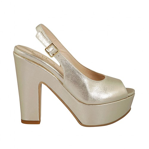 Woman's sandal with strap and platform in laminated platinum leather with block heel 11 - Available sizes:  31, 43