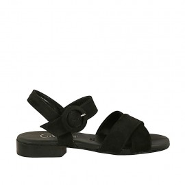 Woman's strap sandal in black suede heel 2 - Available sizes:  32, 33, 34, 44, 45, 46