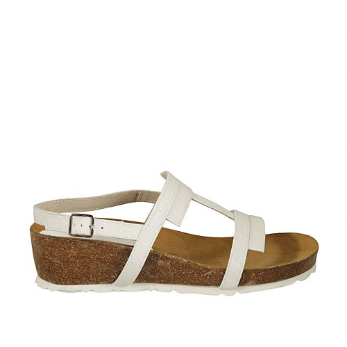 Woman's glittered white sandal wedge heel 4 - Available sizes:  42