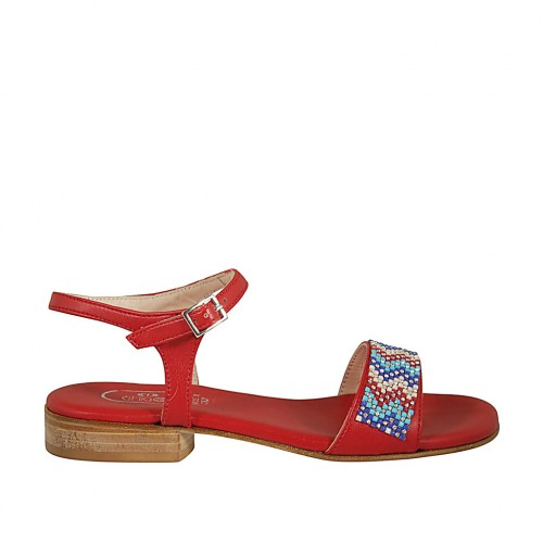 Woman's sandal in red leather with strap and rhinestones heel 2 - Available sizes:  32, 42, 43, 46