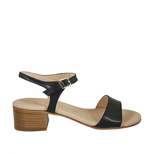 Woman's sandal with strap in blue leather heel 4 - Available sizes:  43