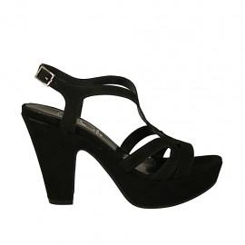 Sandale pour femmes en daim noir avec courroie, plateforme et talon 10 - Pointures disponibles:  33, 34, 43