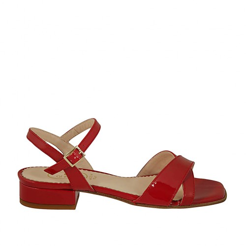 Woman's sandal in red patent leather with strap heel 2 - Available sizes:  44