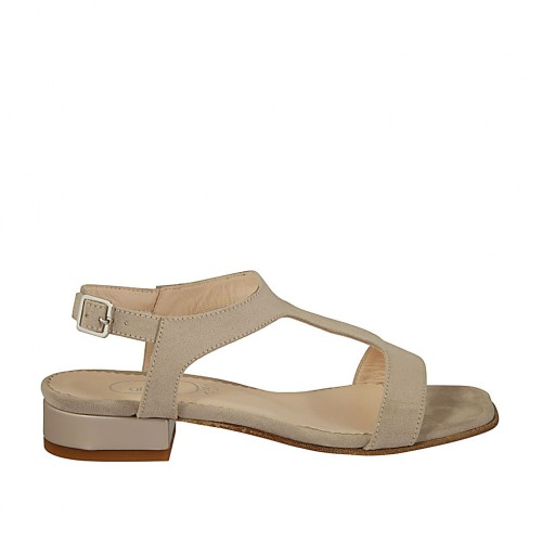 Woman's sandal in dove grey suede and leather heel 2 - Available sizes:  32, 43, 44