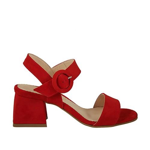 Con 5 Mujer Gamuza Tacon Roja En Sandalia Cinturon Para tsQdxChr