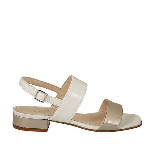 Woman's taupe laminated sandal in white leather heel 2 - Available sizes:  32, 43