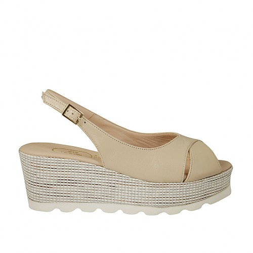 Woman's sandal in beige leather and braided fabric wedge heel 6 - Available sizes:  43
