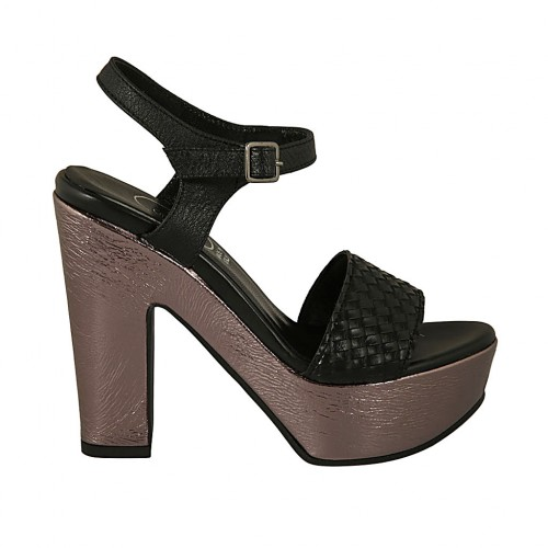 Woman's strap sandal in black braided leather and grey patent leather with platform and heel 11 - Available sizes:  31, 34, 42, 43