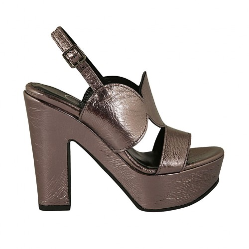 Woman's platform sandal in steel grey patent leather heel 11 - Available sizes:  34, 43