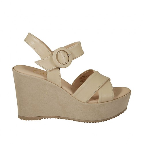 Woman's sandal in beige leather and suede with strap, platform and wedge heel 9 - Available sizes:  42, 43, 44