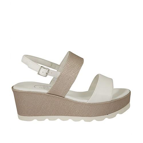 Sandalo da donna in pelle bianca e stampata taupe zeppa 6 - Misure  disponibili  31 6ab124ce9bb
