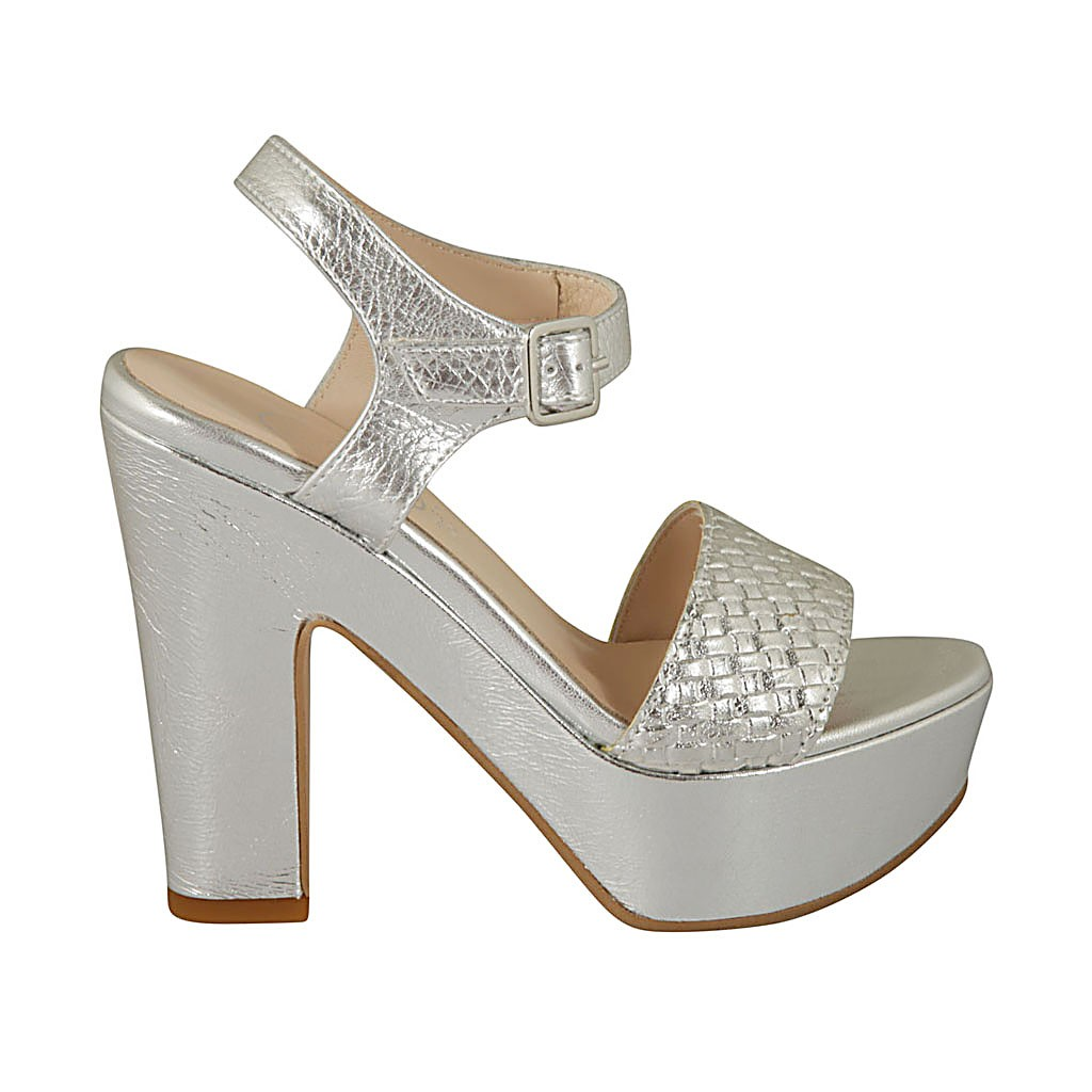 9e21655570ba Woman s strap sandal in silver printed and braided patent leather with  platform and heel 11 -. Loading zoom
