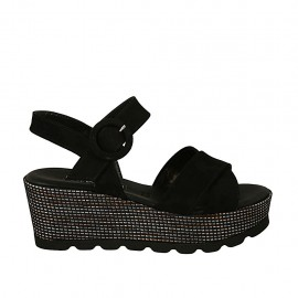 Woman's sandal in black suede with strap wedge heel 6 - Available sizes:  31, 33, 34, 43, 44, 45