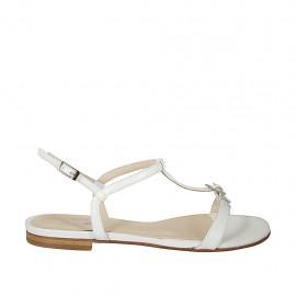 Sandalo da donna con fibbia in pelle bianca tacco 1 - Misure disponibili: 32, 45