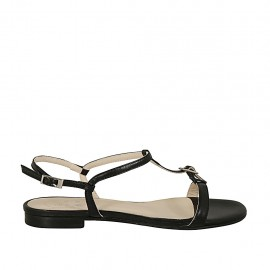 Woman's sandal with buckle in black leather heel 1 - Available sizes:  32, 45