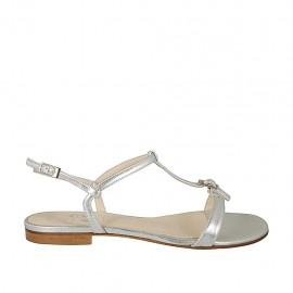 Sandalo da donna con fibbia in pelle laminata argento tacco 1 - Misure disponibili: 32, 33, 34, 42