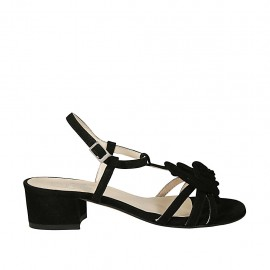 Woman's strap sandal with flower in black suede heel 3 - Available sizes:  33, 34, 42