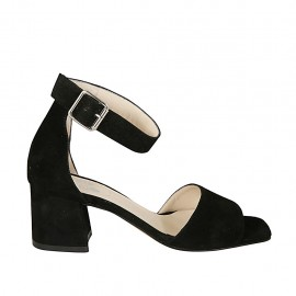 Woman's open shoe with ankle strap in black suede heel 5 - Available sizes:  32, 33, 34, 42, 43, 44, 45