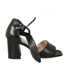 Woman's open shoe with knot strap in black leather block heel 7 - Available sizes:  44, 45