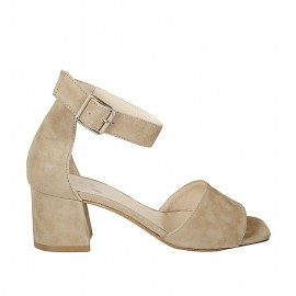Zapato abierto con cinturon al tobillo para mujer en gamuza beis tacon 5 - Tallas disponibles:  45